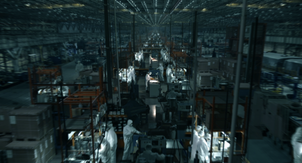 huge, dark sweatshop factory making electronics