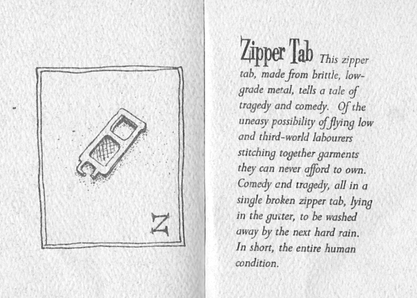 Z is for Zipper, found in the road