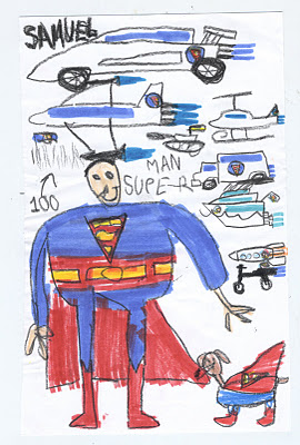Son Sam draws superman and lots of overhead planes