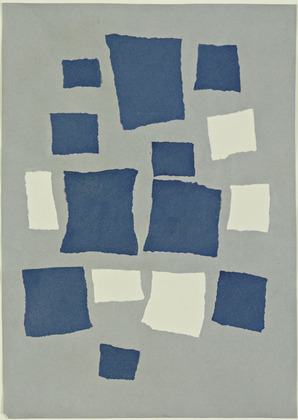 Torn and pasted blue and light grey paper squares on darker grey paper.