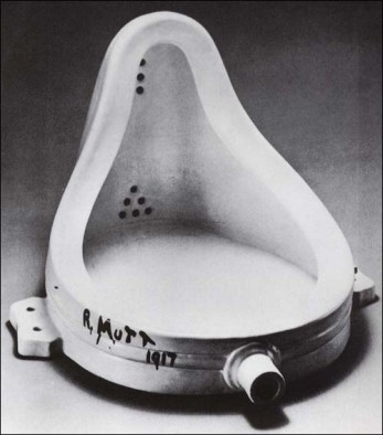 "A urinal with ""R. Mutt, 1917"" painted on the side."