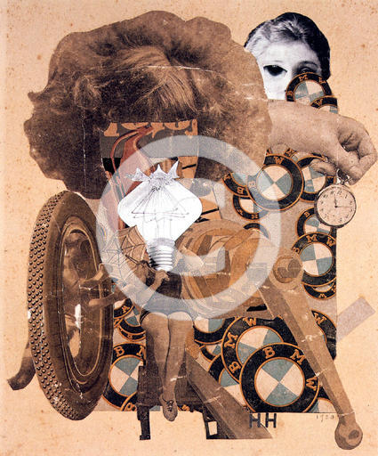 A photo collage of a faceless bathing beauty, with a buffant hairdo and a lightbulb head. A hand with a pocket watch and BMW logos surround.