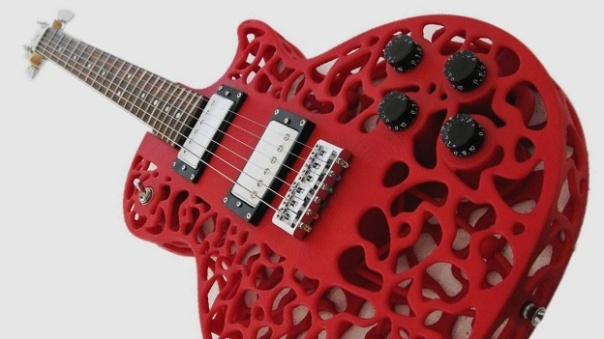 red lace type of guitar body, 3D printed