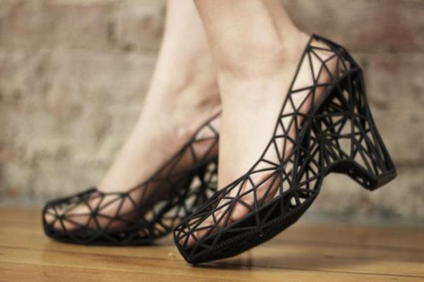 lacey looking 3D printed high heel shoes in black
