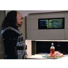 Star Trek Worf infront of food replictoar