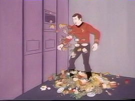 Star Trek crew gets food shot at him from the food replicator.